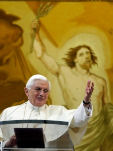 Pope Benedict XVI gestures during the Angelus prayer from his summer residence in Castel Gandolfo, near Rome, Sunday, Sept. 20, 2009. (AP Photo/Riccardo De Luca)